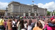 Stock Video Footage of Buckingham Palace, crowds gathering summer