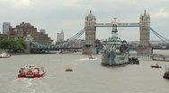 Tower Bridge London Summer, Wide HMS Belfast Stock Footage