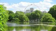 The Green Willow Trees in London summer London Eye Wide Stock Footage