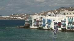 Chora Waterfront in Mykonos Stock Footage