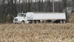 Semi Truck & Corn Stalks Pan Stock Footage
