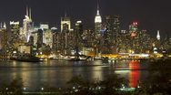 Stock Video Footage of Illuminated Manhattan, New York, USA, T/lapse
