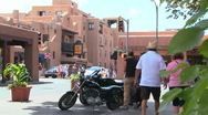 Stock Video Footage of Establishing shot of downtown Santa Fe, New Mexico with motorcycles.