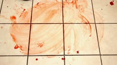 Blood cleaned from kitchen tiles Stock Footage