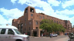 Establishing shot of downtown Santa Fe, New Mexico with adobe buildings. - stock footage