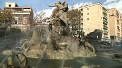 Fountain at the Central Station of Catania Italy depicting Neptune - stock footage