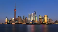 "Shanghai skyline, day to night, timelapse.>>>Please Search: ""ShanghaiSkyline"" - stock footage"