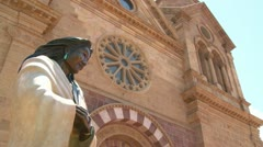Low angle of statue at St. Francis basilica in Santa Fe, New Mexico. Stock Footage