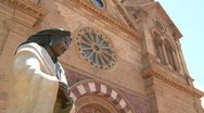 Stock Video Footage of Low angle of statue at St. Francis basilica in Santa Fe, New Mexico.