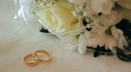 Marriage wedding, rings , a bouquet 002 Stock Footage