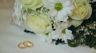 Marriage wedding,  rings , a bouquet Stock Footage
