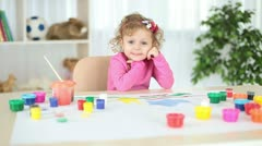 Child in the nursery. Looking at camera Stock Footage