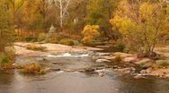 Stock Video Footage of The mountains river in the forest. Autumn