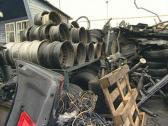 Wheels tires and body parts. Automobile parts in dump. Stock Footage