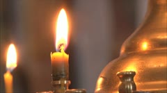 Church candles, soft focus Stock Footage