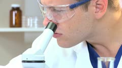Male Medical Student in Hospital Laboratory - stock footage