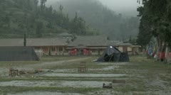 Abandoned Village Coated In Volcanic Ash During Eruption Crisis Stock Footage
