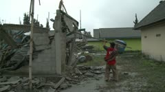 Building Damage From Volcanic Ash Fallout Indonesia - stock footage