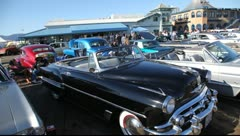 Classic car show at Santa Monica Pier in Santa Monica, Los Angeles, California Stock Footage