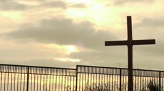 Cross at Sunrise Stock Footage