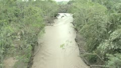 Fast Flowing River Thick With Volcanic Ash And Mud - stock footage