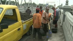 Volcanic Ash Cleared From Streets During Eruption Crisis Indonesia Stock Footage