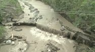 Fast Flowing River Thick With Volcanic Ash And Mud Stock Footage