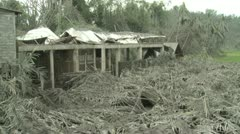 Volcanic Ash Fallout During Merapi Eruption Crisis Indonesia - stock footage