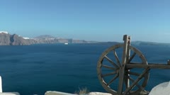 Wooden wheel in Santorini Stock Footage