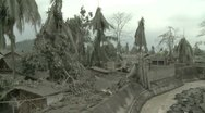 Stock Video Footage of Abandoned Village Coated In Volcanic Ash During Eruption Crisis