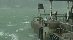 Stormy Seas Lash Waterfront During Tropical Storm - stock footage