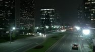 Stock Video Footage of A downtown Los Angeles street at night.