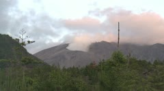 Steam And Gas Rise From Active Volcano Stock Footage