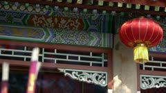 Chinese garden courtyard,red lantern,Burning incense in Incense burner,Wind of Stock Footage