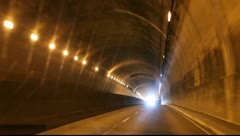 Driving through freeway tunnel during traffic in San Francisco, California Stock Footage