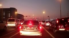 Dubai city traffic at night, crossroad. United Arab Emirates Stock Footage