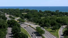 North view of Lake Michigan and Lake Shore Drive in the summer - stock footage
