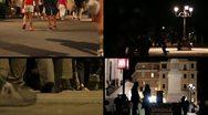 People Walking by Night Stock Footage