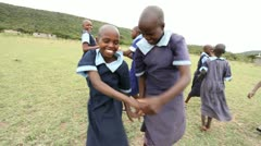 School girls playing outdoors. Stock Footage