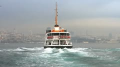 Ferry sails to European side of Istanbul Stock Footage