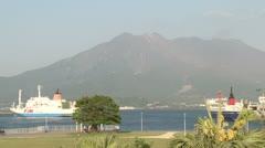 Sakurajima Volcano Looms Over City In Japan Stock Footage