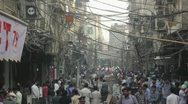 Stock Video Footage of Crowded Delhi street