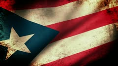 Puerto Rico State Flag Waving, grunge look Stock Footage
