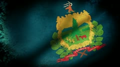 Vermont State Flag Waving, grunge look - stock footage