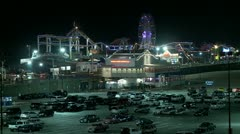 A night shot of the Santa Monica pier in Los Angeles. Stock Footage