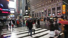 Busy crossing 42nd street, New York, USA, T/lapse - stock footage