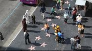 Celebrities stars on Hollywood Boulevard Walk of Fame in Los Angeles, California Stock Footage