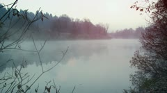 Fog on the river Stock Footage