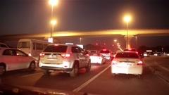 Dubai city traffic at night, traffic jam. United Arab Emirates Stock Footage