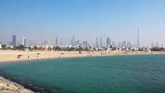 Jumeirah beach, Dubai downtown and Burj Khalifa, United Arab Emirates - stock footage